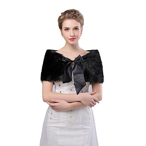 Handmade Faux Fur (Kanrome Black Handmade Faux Fur Wrap Cape Warm Thick Women Coat Accessories Shawl Stole (3))