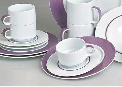 Juego de café Tavola Duo morado de vajilla de porcelana para 12 personas apilable - Diseño: Prof, Karnagel: Amazon.es: Juguetes y juegos