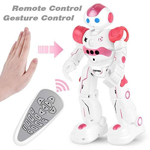 Rainbrace RC Robot Toys Gesture Sensing,Kids Robots Gift Intelligent Programmable,Girls Remote Control Robot Walking Dancing Singing (Pink) ()