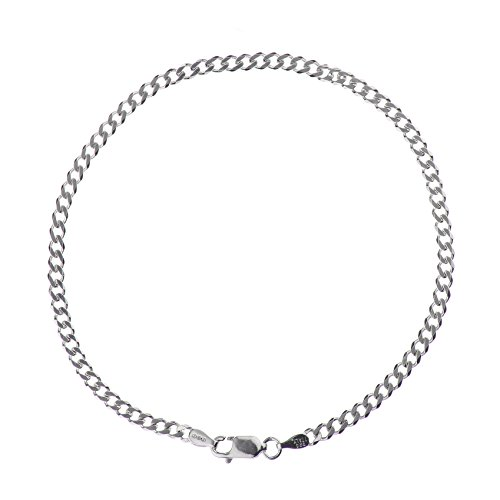 (925 Sterling Silver 3.00 mm Beveled Dia-Cut Cuban Curb Bracelet Chain W/Lobster)
