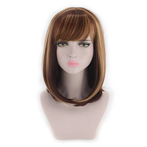 LJWYC High Fashion Vogue Wig Popular Short Straight Hair Fluffy Hair Jacket Can Be Slanting Bangs -