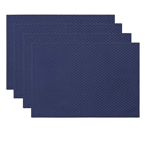 ColorBird Elegant Waffle Jacquard Doily Place Mat Waterproof Spillproof Microfiber Fabric Table Placemats, 13 x 19 Inch, Set of 4, Navy Blue (Table Blue Navy Mats)