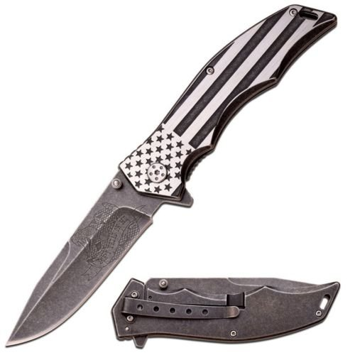New 8. 75'' MTECH USA FLAG DON'T TREAD ON ME SPRING ASSISTED FOLDING POCKET Eco'Gift Knife With Sharp Blade U. S