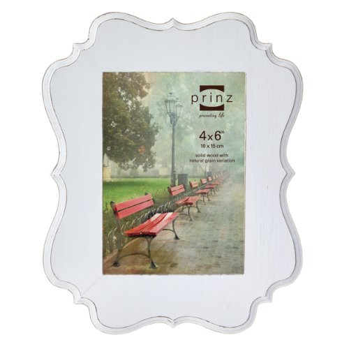 Prinz Annabelle White Ashwood Veneer Wood Frame, 4 by 6-Inch Classic Scroll Picture Frame