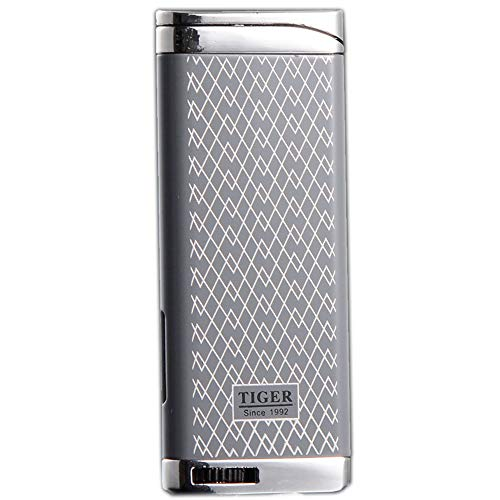 Refillable Blue Flame Adjustable Ultra-Thin Butane Viewable Windproof Cigar Cigarette Lighter Gray ()