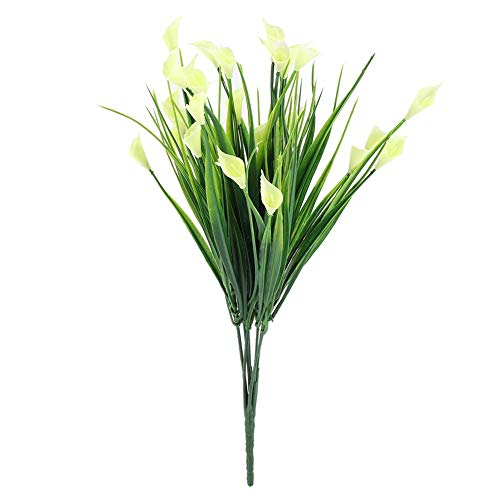 - Artificial Flowers Calla Lily Leaf Fake for Home Garden Party Wedding Decoration (White)