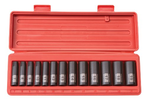 TEKTON 3/8-Inch Drive Deep Impact Socket Set, Metric, Cr-V, 12-Point, 7 mm - 19 mm, 13-Sockets | (0.375 Drive Deep Socket)