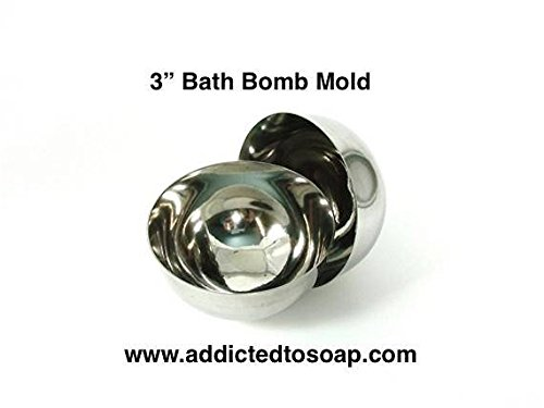 Addicted to Soap - 4 Inch Bath Bomb Stainless Steel Mold - Heavy Duty 1 1.5 2 2.5 2.75 3 3.5 4 inch Professional Set Bath Bomb Molds - Food Mold Safe to (3 inch Bath Bomb Mold)