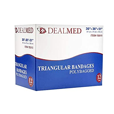 "Dealmed Latex Free Triangular Bandages, 36"" x 36"" x 51"", 12 Bandages Per Box"