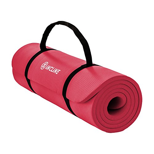 Incline Fit Exercise Mat Extra Thick & Long Comfort Foam Yoga/Exercise Mat with Carrying Strap, Onyx