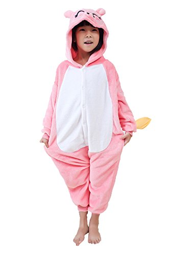 OUCHI Children Kids Cute Animal Hoody Halloween Cos Pajamas Romper Suit (Pig Pink ) (Couple Halloween Cos)