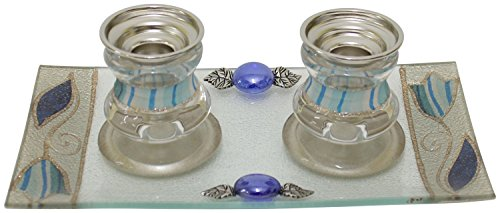 Candlestick Lily - Lily Art Ocean Blue Tulip Design Glass Candlestick Holders with Matching Tray