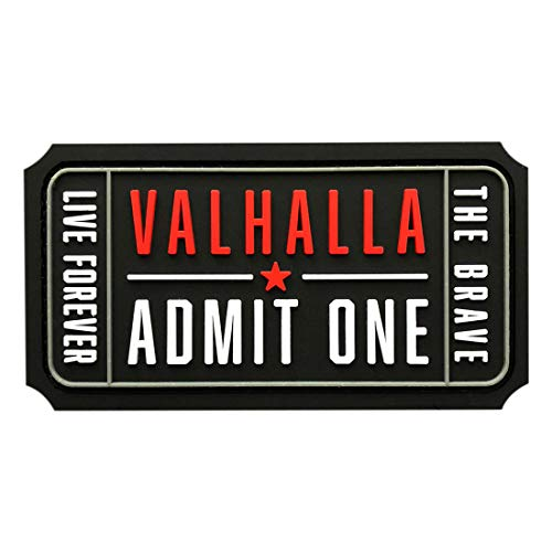 Ticket to Valhalla Admit One Mad Max Brave Live (PVC Rubber Hook Patch ZN-1) ()