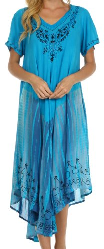 Sakkas 20SE Viveka Embroidered Caftan Dress - Turquoise - One Size