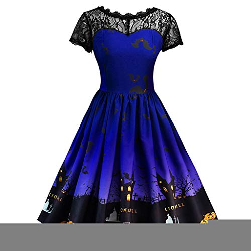 Halloween Costumes for Women, Forthery Wing Dresses Lace Short Sleeve Swing Dress Cocktail Party Dress Tea Dress(Sky Blue,10-12)