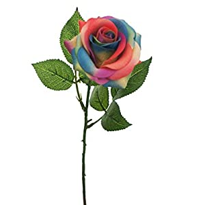Lily Garden Artificial Flowers Rainbow Rose Real Touch Set of 10 63
