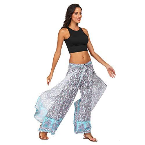 Beyonds Women Loose Yoga Wide Leg Hippie Pants Travel Lounge Casual Beach White ()
