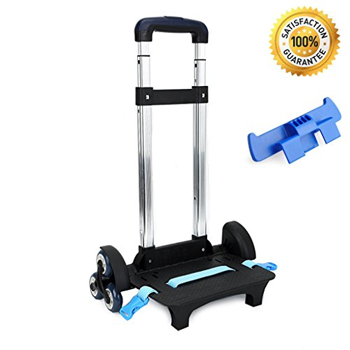 - UEK Wheeled Trolley Hand Aluminium Alloy Non-folding Trolley Cart for Backpack (Blue, 6 Wheels)