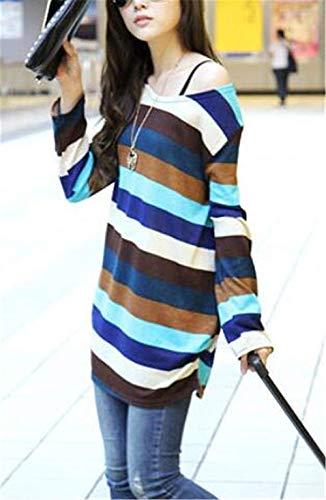 Blue T À shirts Manches Neck D'automne Hoodies Chemises Mang Rayures Longues qpB1Twxwn