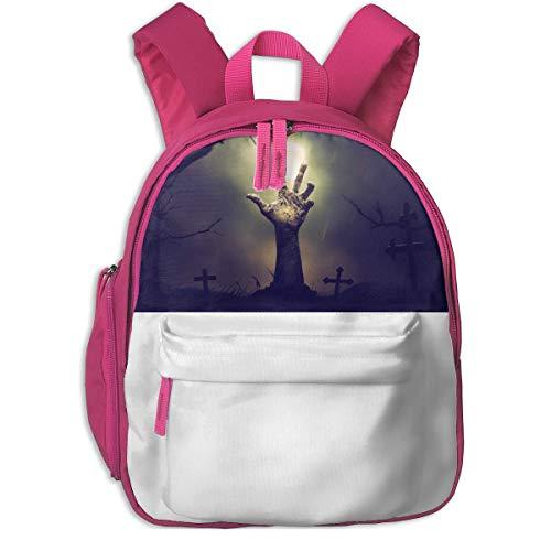 (Zombie Hand Halloween Haunted Cemetery Children School Bag Book Backpack Outdoor Travel Pocket Double)
