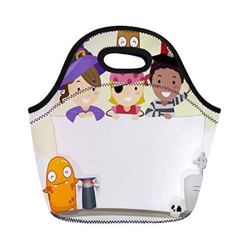 Tinmun Lunch Tote Bag Costume Halloween Pirate Boy Cartoon People Children Clip Clipart Reusable Neoprene Bags Insulated Thermal Picnic Handbag for Women Men]()