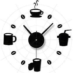 Creative Silver Black Coffe Cup/digital / Rome Vogue/butterfly Wall Clock Mirror Wall Clock Fashion Modern Design Removable DIY Acrylic 3d Mirror Wall Decal Wall Sticker Decoration (black)