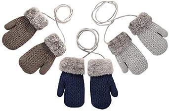 con pomp/ón YK.Hapyshop Guantes de invierno para beb/é para exteriores beige Random Color sin dedos