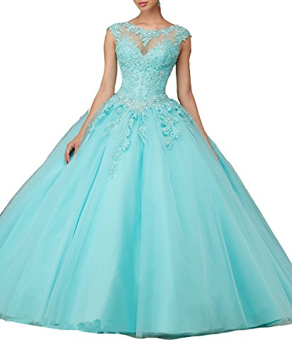 Lace Cap Light Dresses Sleeves Cloverdresses Ball Beads Quinceanera Blue with Gown Prom 8HU4wH