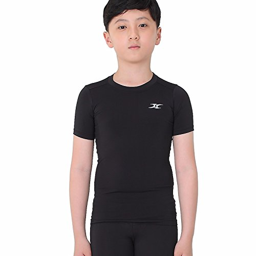 Undershirt Sleeve Baseball (Kids Compression Shirt Underwear Boys Youth Under Base Layer Short Sleeve Top SK BK L)