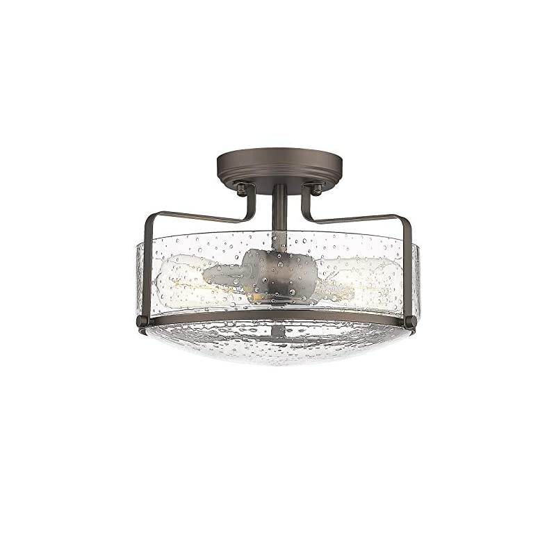 Semi Flush Mount Ceiling Light, HWH 12 inch Farmhouse Vintage Close to Ceiling Light Fixture with Seeded Glass Shade…