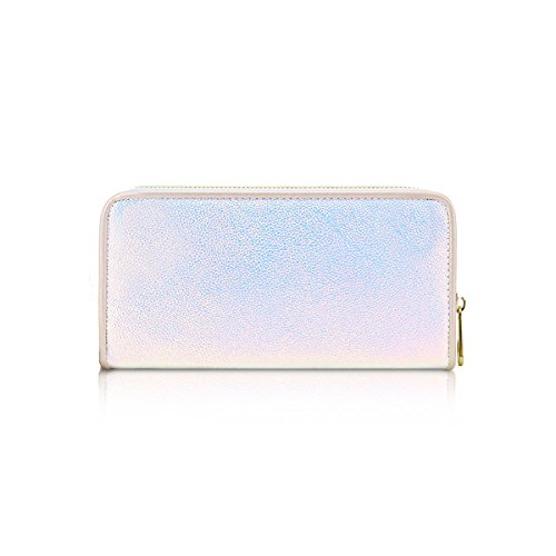 Single Bag Holographic Hologram Zip Handbag Purse Metallic Women's GPA450A Wallet Ladies White CwxYt4AqS6