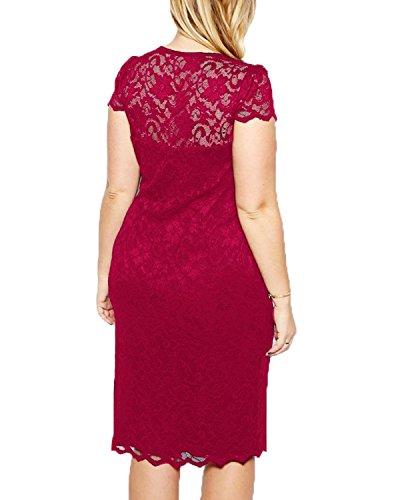 Dress Dress Summer Size Causal A Vintage Line Plus Women ZERO JORLA Party Red Lace V Wine Neck q46nI4Bxw