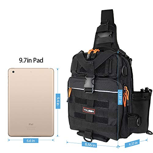 YVLEEN Fishing Tackle Backpack - Outdoor Large Fishing Tackle Box Bag - Water-Resistant Fishing Backpack with Rod Holder Shoulder Backpack