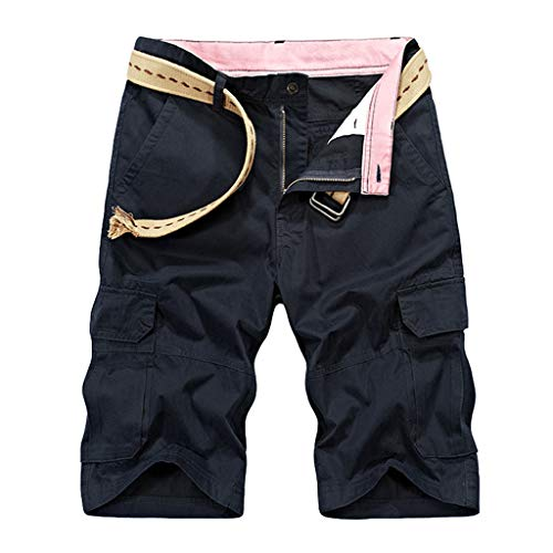 Shorts for Men, F_Gotal Men's Casual Solid Color Plus Size Multi-Pockets Overalls Elastic Waist Pants Shorts Sweatpants Blue