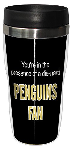Tree-Free Greetings sg24191 Penguins Hockey Fan Sip 'N Go Stainless Steel Lined Travel Tumbler, 16-Ounce