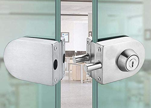 SUYA Glass Door Lock Heavy Duty Stainless Steel Double Swing Hinged Frameless Push Sliding Gate Lock with 3 Keys No Drill Anti-Theft Security Lock Fits for 10mm-12mm Glass Door,Stainless Steel Finish