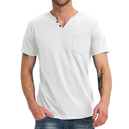 MIS1950s Mens Henley Shirts Short Sleeve Summer Beach V Neck Button Up Hippie Casual Work Tops Tee Tops