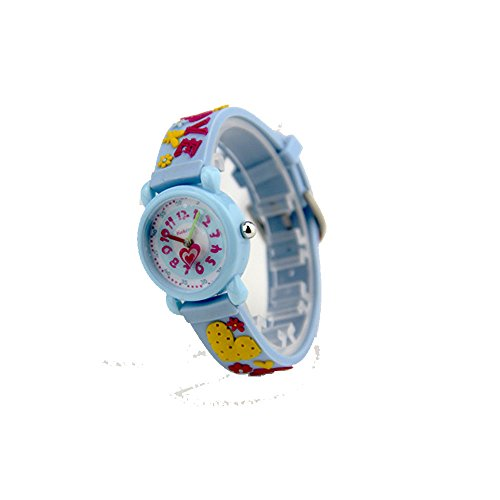 Xmas Gift for Children,Jian Ya Na Lovely Cartoon Children Watch,Silicone Strap Digital Round Quartz Wristwatches for Girls Boys Kids (Blue(3D Love )) by Jian Ya Na (Image #4)