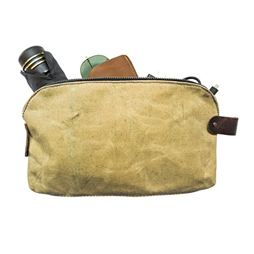 Waterproof Waxed Canvas Large All Purpose Dopp Kit Utility Bag With Durable Canvas Lining Handmade by Hide & Drink