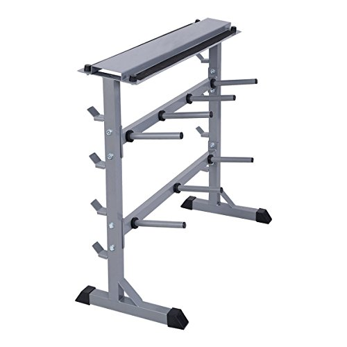 DreamHank 2-Tier 40'' Barbell Rack Weights Storage Stand by DreamHank