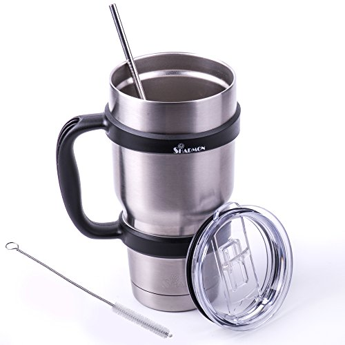 Outstanding Insulated 30 Oz Stainless Steel Tumbler Set by Shadmon Double Wall Vacuum Travel Cup Includes Spill Proof Lid a Straw and Removable Mug Grip Handle Ideal For All Hot and Cold Drinks.