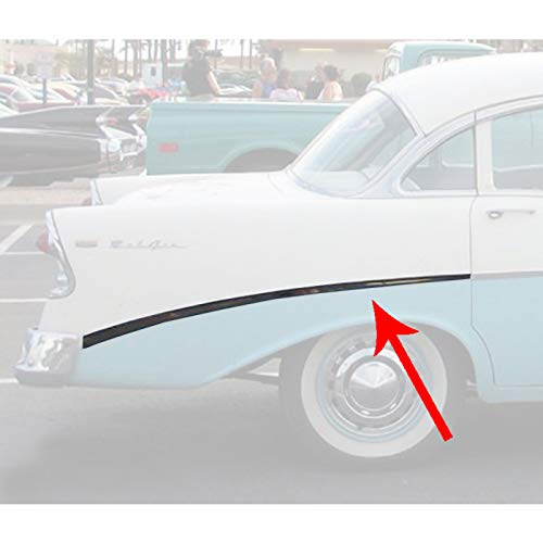 Eckler's Premier Quality Products 57-360206 Chevy Bel Air 4-Door Sedan Or Wagon Rear Quarter Panel Molding Right Show Quality