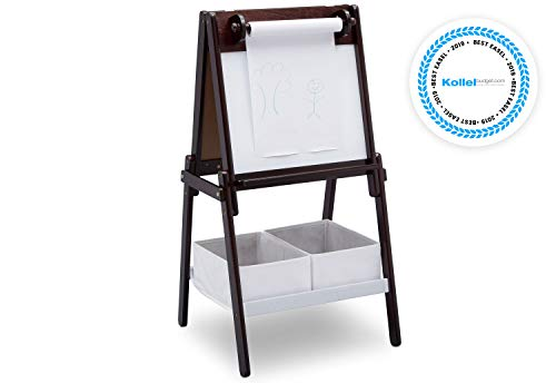 Delta Children MySize Kids Double-Sided Storage Easel -Ideal For Arts & Crafts, Drawing, Homeschooling And More, Dark Chocolate