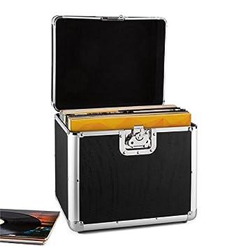 Resident DJ Zeitkapsel caja de aluminio para vinilos (capacidad de 70 LPs, cierre de mariposa, bordes reforzados, asa ergonómico, peso vacío de 2,4 ...