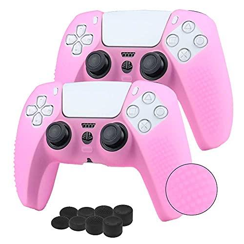 2 fundas + 8 grips para control playstation 5 rosa