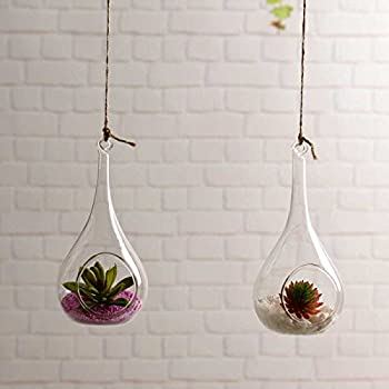 pack of 2 indoor outdoor hanging glass candle holders hanging succulent plant pots glass hanging planters - Hanging Plant Holders