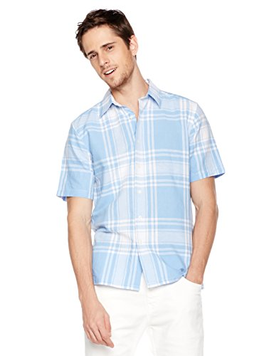 Isle Bay Linens Men's Short Sleeve Plaid Standard Woven Shirt S Blue (Linen Shirt Plaid)