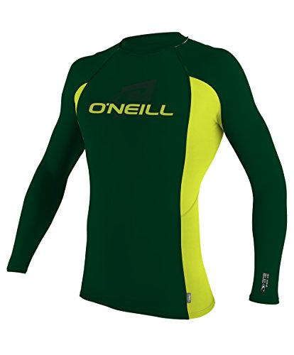 O'Neill Wetsuits UV Sun Protection Youth Skins Long Sleeve Crew Sun Shirt Rash Guard, Combat/Lime, - Guard Sleeve Crew Rash Long