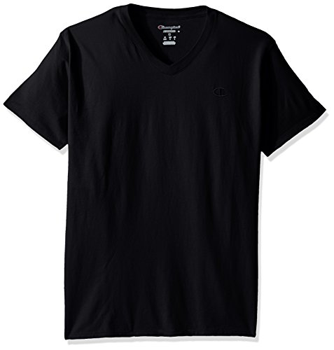 Champion Men's Classic Jersey V-Neck T-Shirt, Black, L