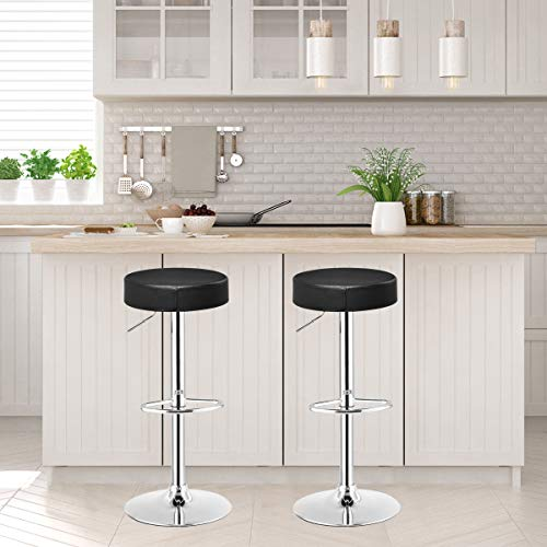 GentleShower Barstool, Set of 2 Adjustable Round High PU Seat Bar Stool Swivel Counter Height Bar Stool Kitchen Chair with footrest Black